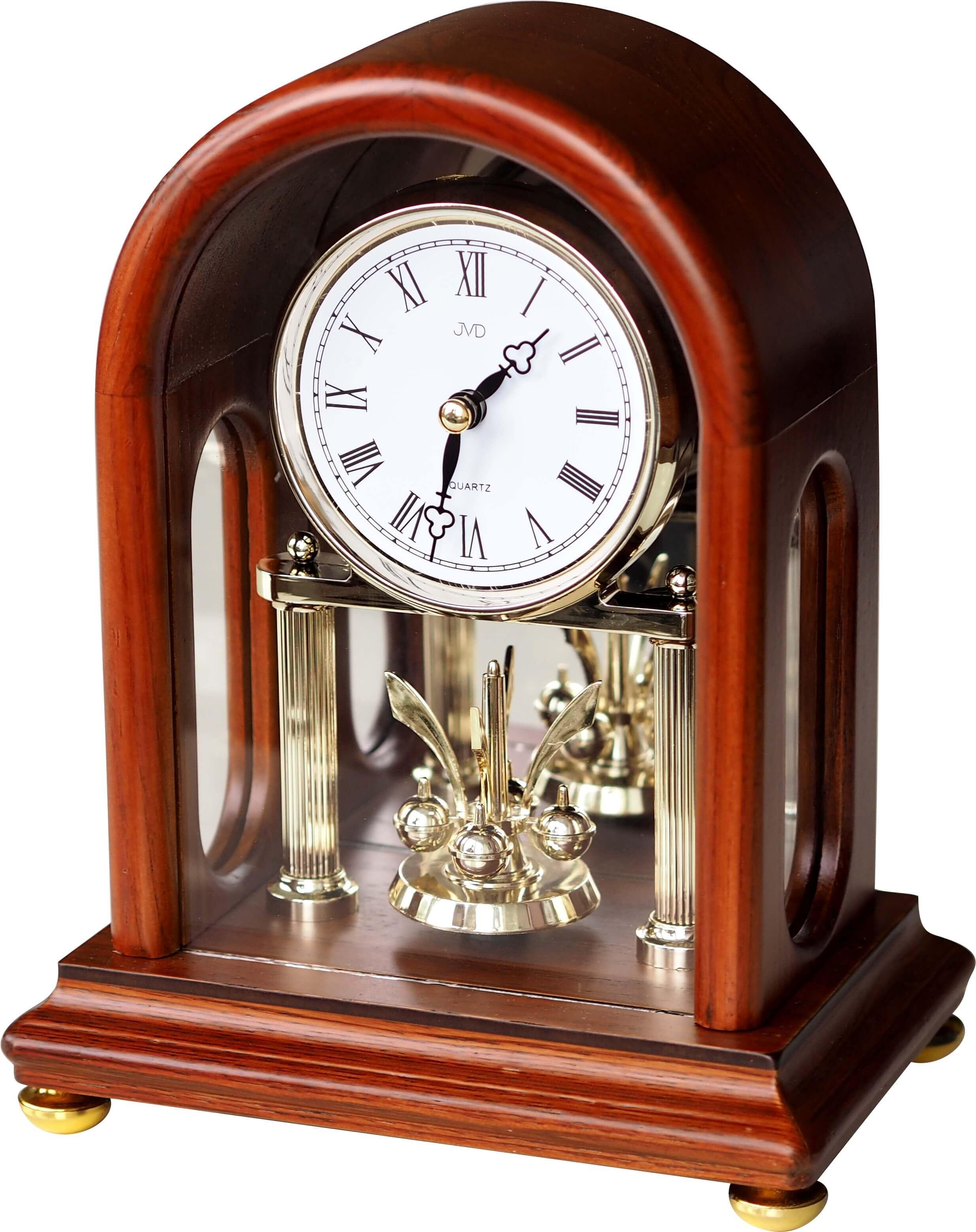 """Dřevěné stolní hodiny JVD HS18.1 (s točitými ročkami) (POŠTOVNÉ ZDARMA!! - retro styl """"ročky"""")"""