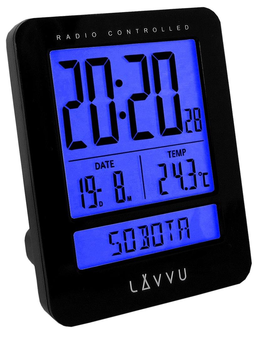 Digitální budík řízený rádiovým signálem LAVVU Duo Black LAR0021 (digitální budík, který umí česky!)