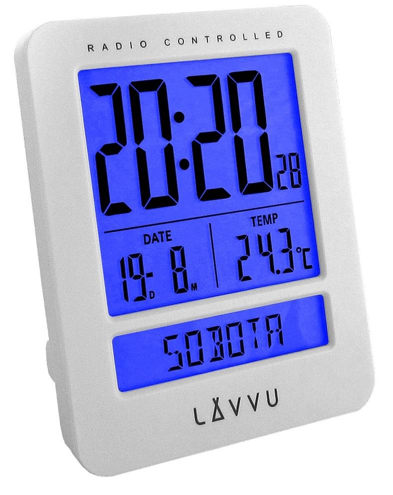Digitální budík řízený rádiovým signálem LAVVU Duo White LAR0020 (digitální budík, který umí česky!)