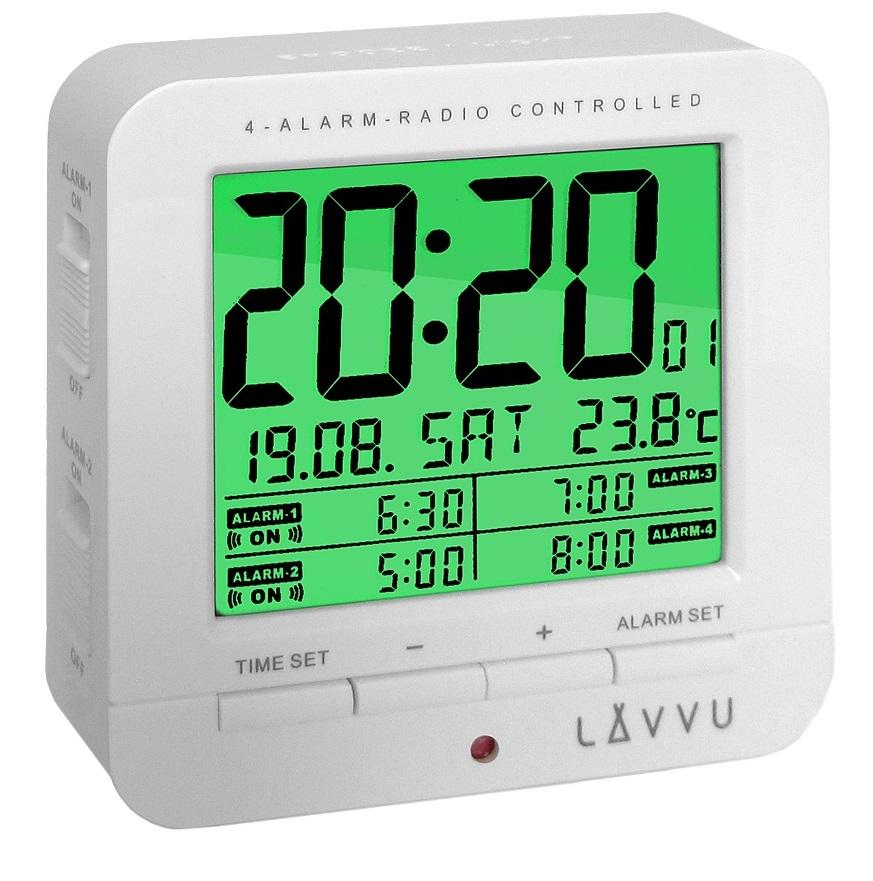 Digitální budík řízený rádiovým signálem LAVVU White Cube LAR0010