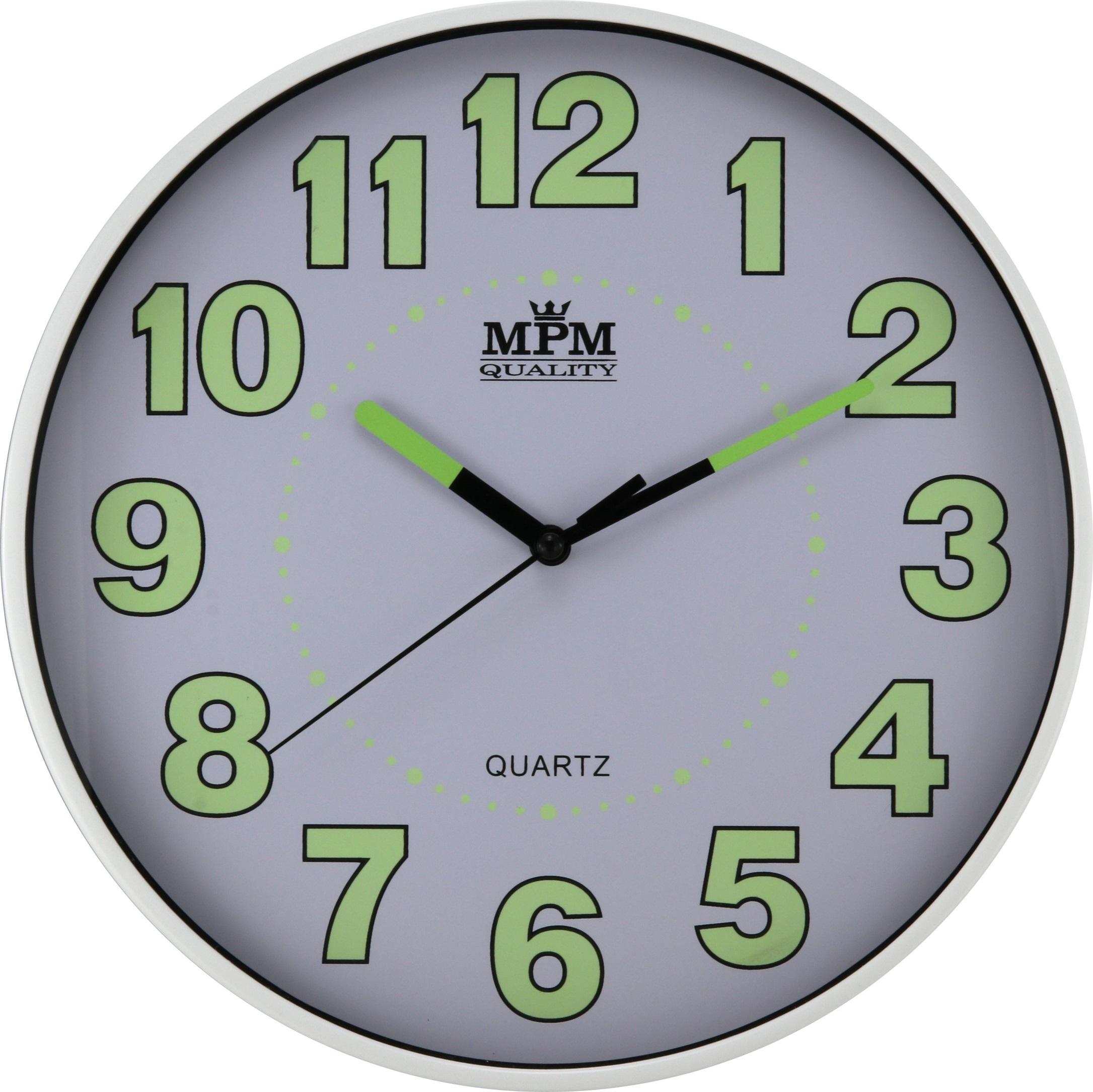Nástěnné plastové hodiny s luminiscenčními číslicemi a ručičkami MPM E01.3684