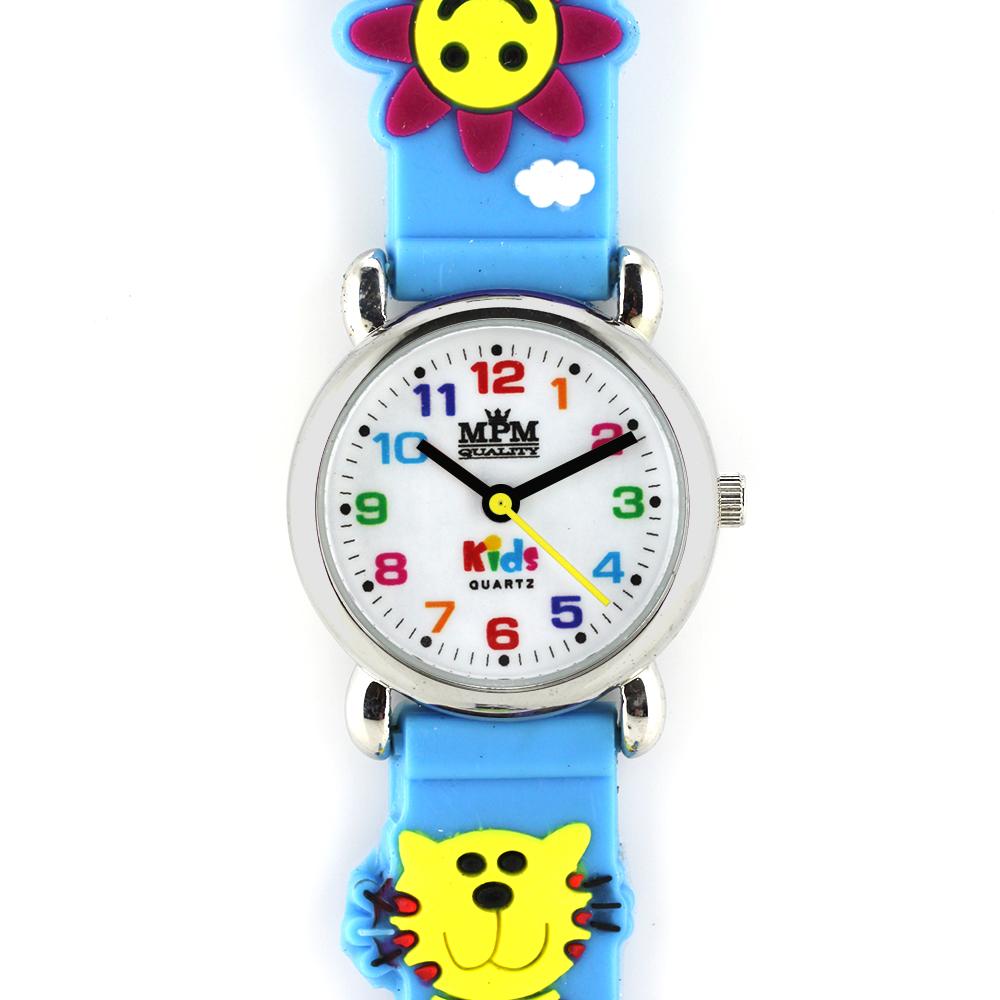 Dětské barevné modré hodinky s kočikou MPM W05M.10271.E ( W05M.10271.E)