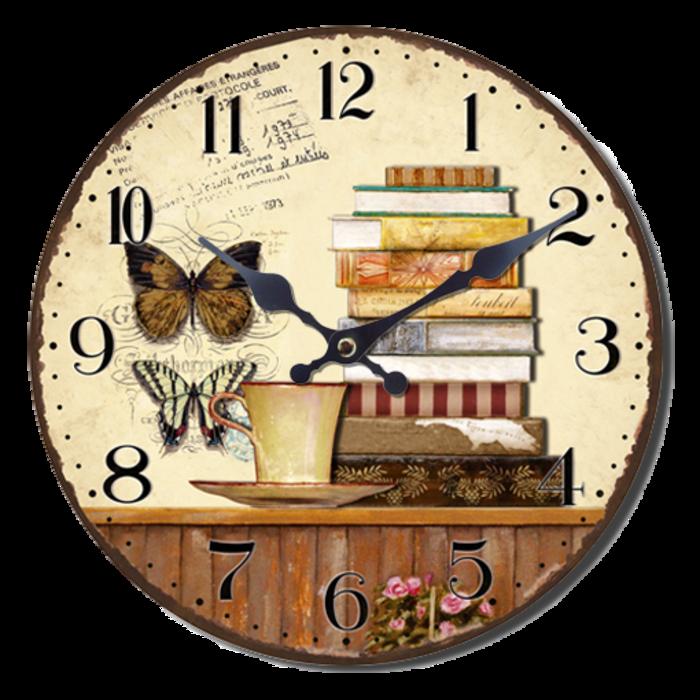 Nástěnné hodiny A la Campagne JVD NB8 s francouzským motivem (francouzský design hodin)