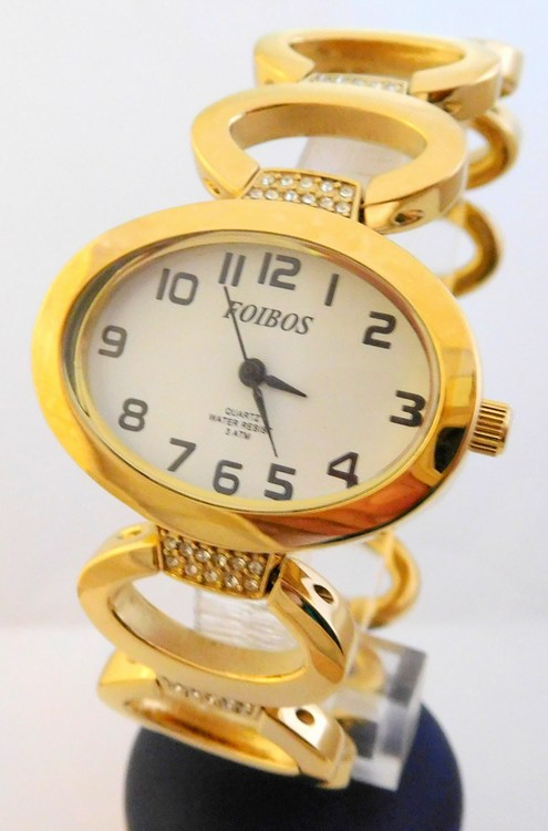 Dámské šperkové zlacené hodinky s kamínky na pásku Foibos 24223 (POŠTOVNÉ ZDARMA!!!)