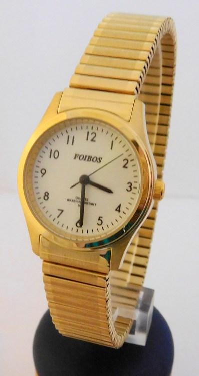 Dámské zlacené ocelové hodinky Foibos 7285.3 s natahovacím páskem (natahovací pásek - libovolná velikost zápěstí)