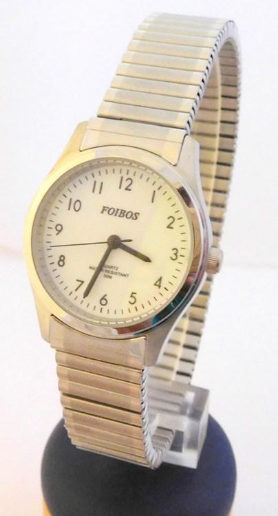 Dámské stříbrné ocelové hodinky Foibos 7285.4 s natahovacím páskem (natahovací pásek - libovolná velikost zápěstí)
