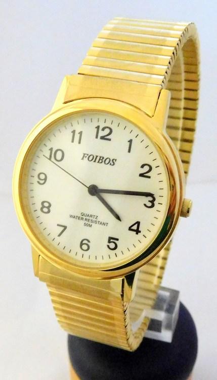 Pánské zlaté ocelové hodinky Foibos 7432GG s natahovacím páskem (natahovací pásek - libovolná velikost zápěstí)