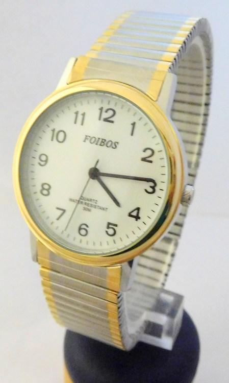 Pánské zlaté ocelové hodinky Foibos 7432GTT s natahovacím páskem BICOLOR  (natahovací pásek - libovolná velikost 6831057417f