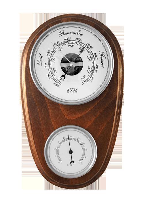 Dřevěný barometr JVD BA1/ORBT s vlhkoměrem (Určuje předpověď počasí a vlhkost vzduchu)