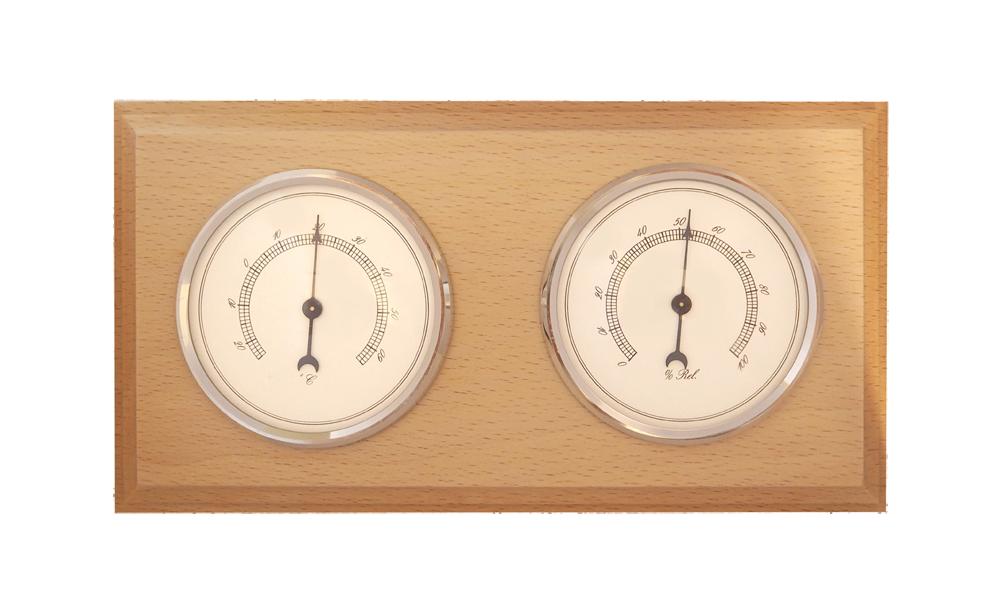 Dřevěný hranatý barometr JVD BA9/PRTH s vlhkoměrem a teploměrem