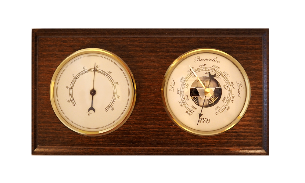 Dřevěný hranatý barometr JVD BA10/ORBT s teploměrem a předpovědí počasí (Určuje předpověď počasí)