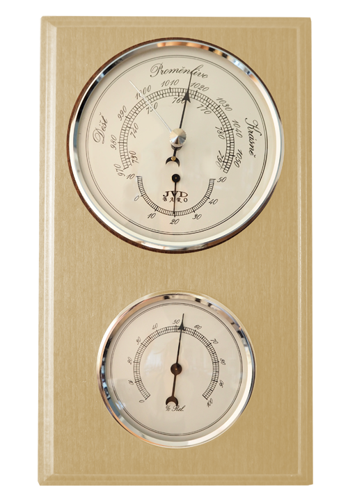 Dřevěný barometr JVD BA12/PRBHT s vlhkoměrem, teploměrem a předpovědí počasí (POŠTOVNÉ Z