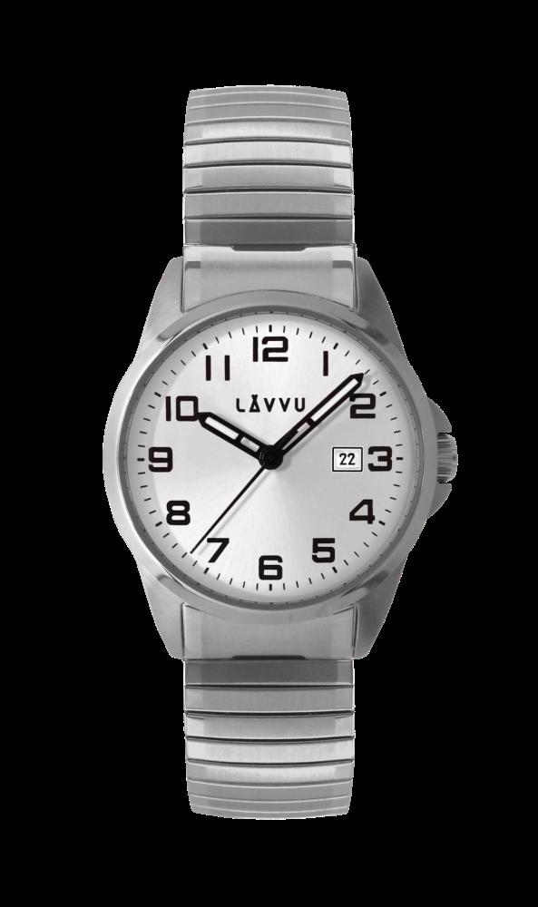 Pružné přehledné hodinky LAVVU STOCKHOLM Big Silver LWM0023 s natahovacím páskem (POŠTOVNÉ ZDARMA!!)