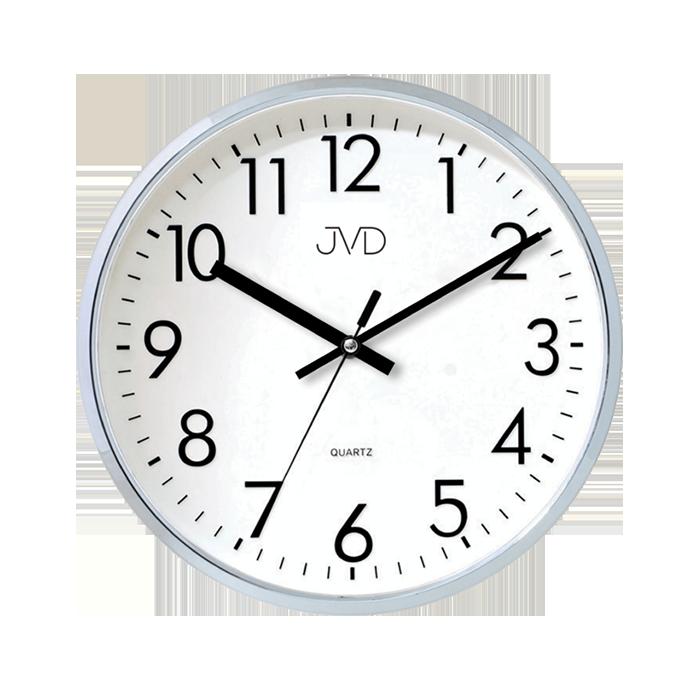 Stříbrné plastové nástěnné hodiny JVD HA43.1