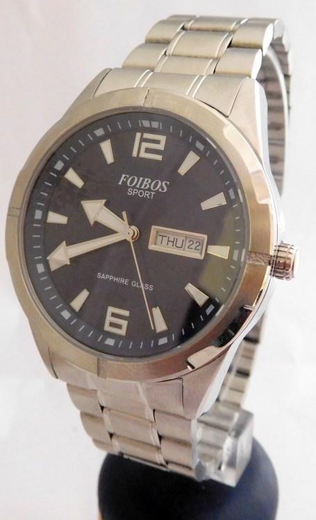 3e47da420f1 Pánské vodotěsné ocelové přehledné hodinky Foibos sport 7054.2 (safírové  sklo)