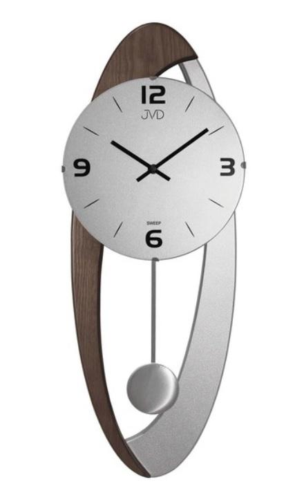 Dřevěné skleněné designové kyvadlové netikající nástěnné hodiny JVD  NS15021 78 6897f02047a