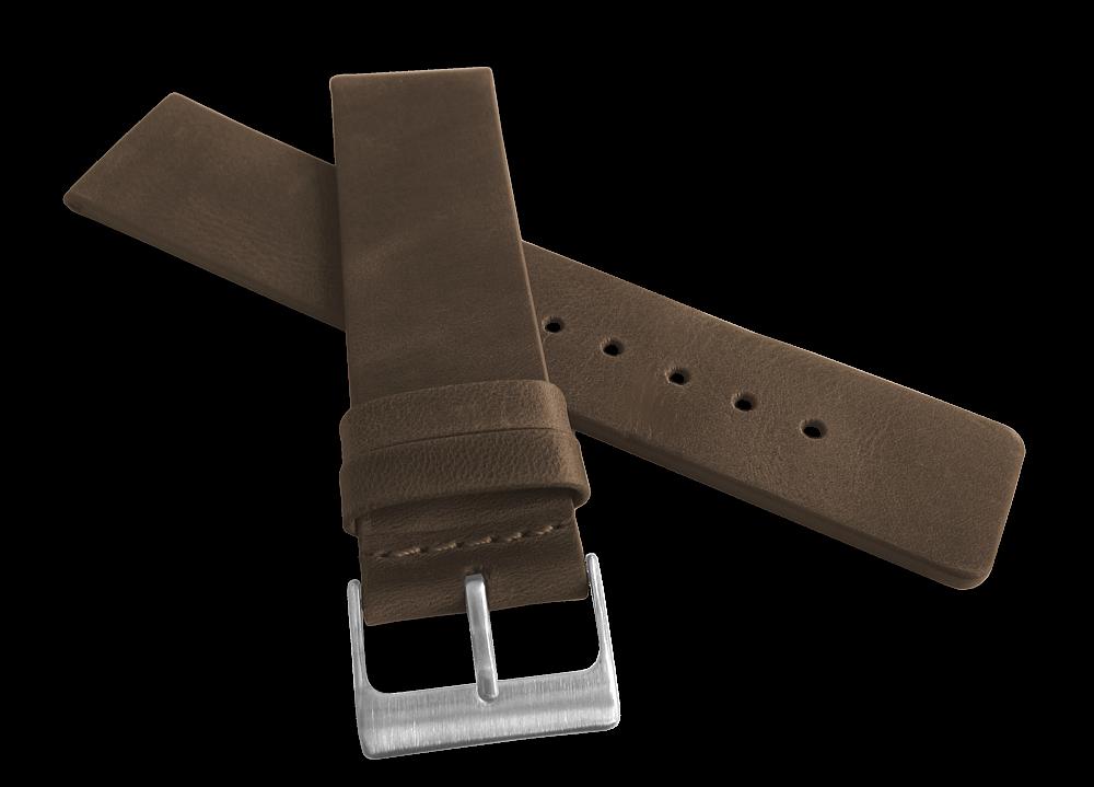 Tmavě hnědý hladký řemínek LAVVU PLAIN z luxusní kůže Top Grain 22mm LSCUC22 (řemínek, pásek na hodinky)