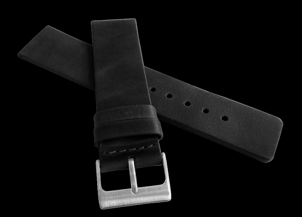 Černý hladký řemínek LAVVU PLAIN z luxusní kůže Top Grain - 22mm LSCUB22 (řemínek, pásek na hodinky)