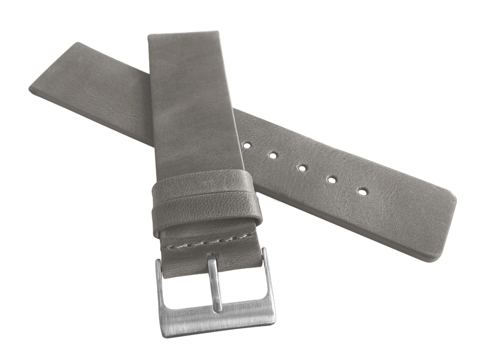 Šedý hladký řemínek LAVVU PLAIN z luxusní kůže Top Grain - 22mm LSCUA22 (řemínek, pásek na hodinky)