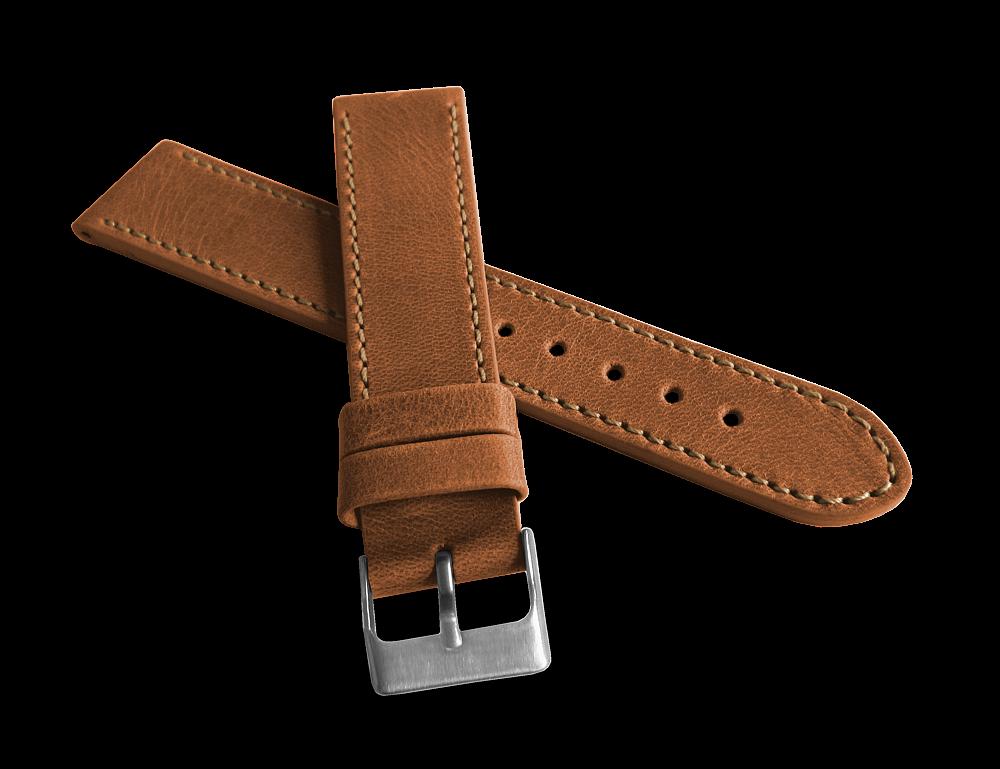 Hnědý prošitý řemínek LAVVU SPORT z luxusní kůže Top Grain - 22mm LSAUE22 (řemínek, pásek na hodinky)
