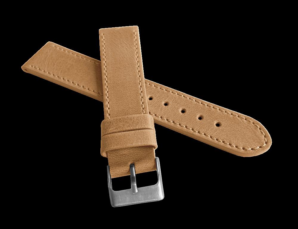 Béžový prošitý řemínek LAVVU SPORT z luxusní kůže Top Grain - 22mm LSAUD22 (řemínek, pásek na hodinky)