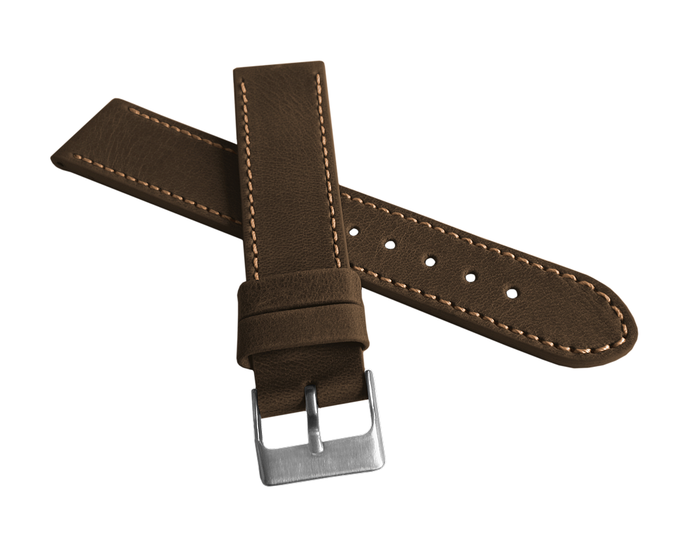 Tmavě hnědý prošitý řemínek LAVVU SPORT z luxusní kůže Top Grain 22mm LSAUC22 (řemínek, pásek na hodinky)