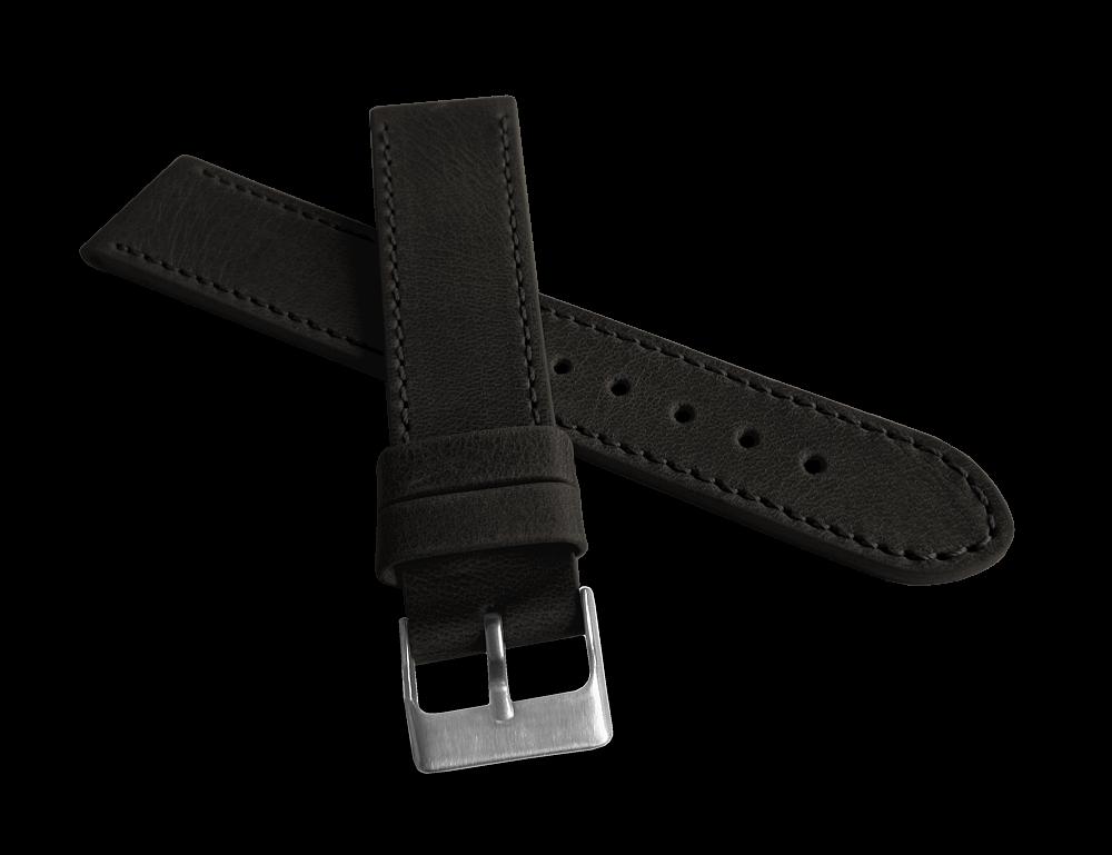 Černý prošitý řemínek LAVVU SPORT z luxusní kůže Top Grain 22mm pásek LSAUB22 (řemínek, pásek na hodinky)