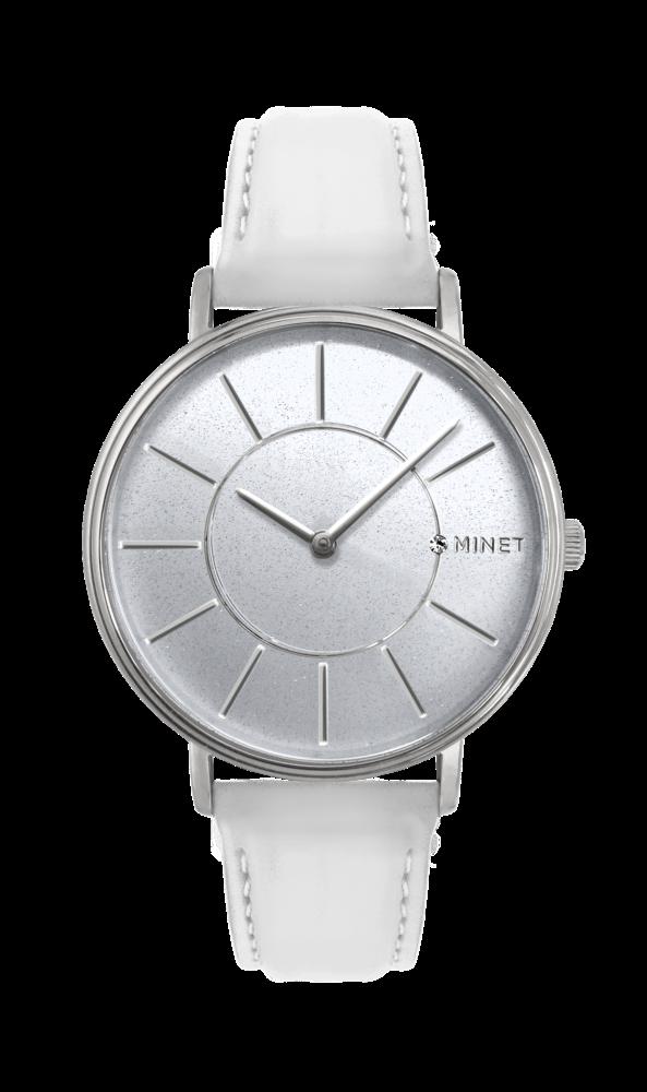 Třpytivé stříbrno-bílé dámské hodinky MINET BROADWAY SILVER STAR MWL5032  (POŠTOVNÉ ZDARMA! defabab140f
