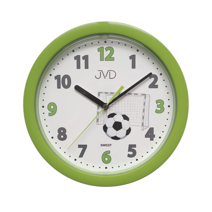 Dětské zelenkavé fotbalové netikající tiché hodiny JVD HP612.D4 s tichým chodem (s fotbalovým míčem pro malé fotbalisty)