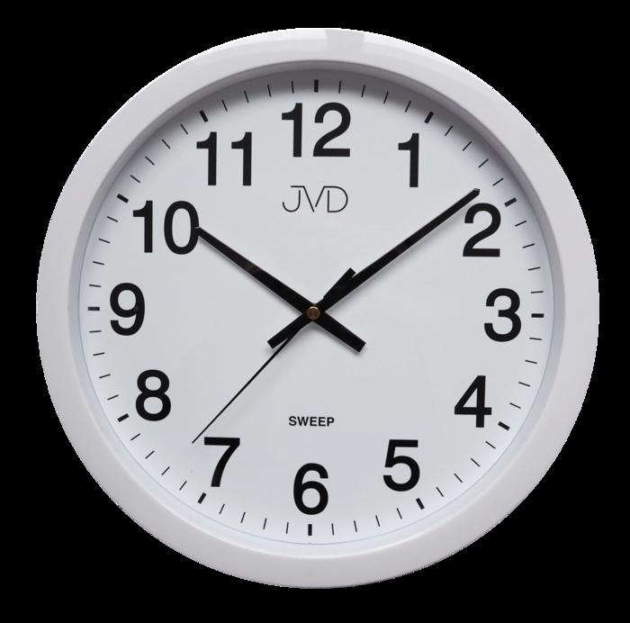 Bílé plastové nástěnné netikající tiché hodiny JVD sweep HP611.1