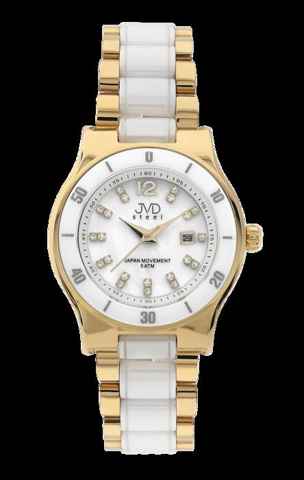 Dámské keramické bílé hodinky JVD steel J4125.2 s perleťovým číselníkem