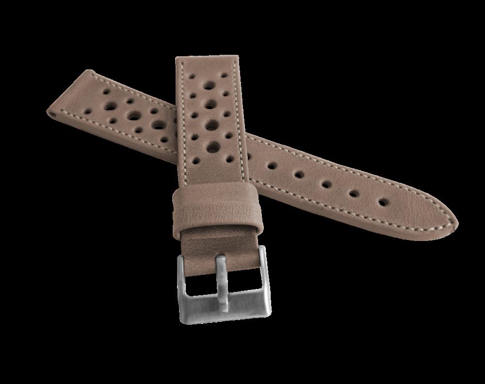 Perforovaný béžový prošitý řemínek LAVVU VINTAGE z luxusní kůže Top Grain - LSGUF22 (řemínek, pásek na hodinky - šířka 22mm)