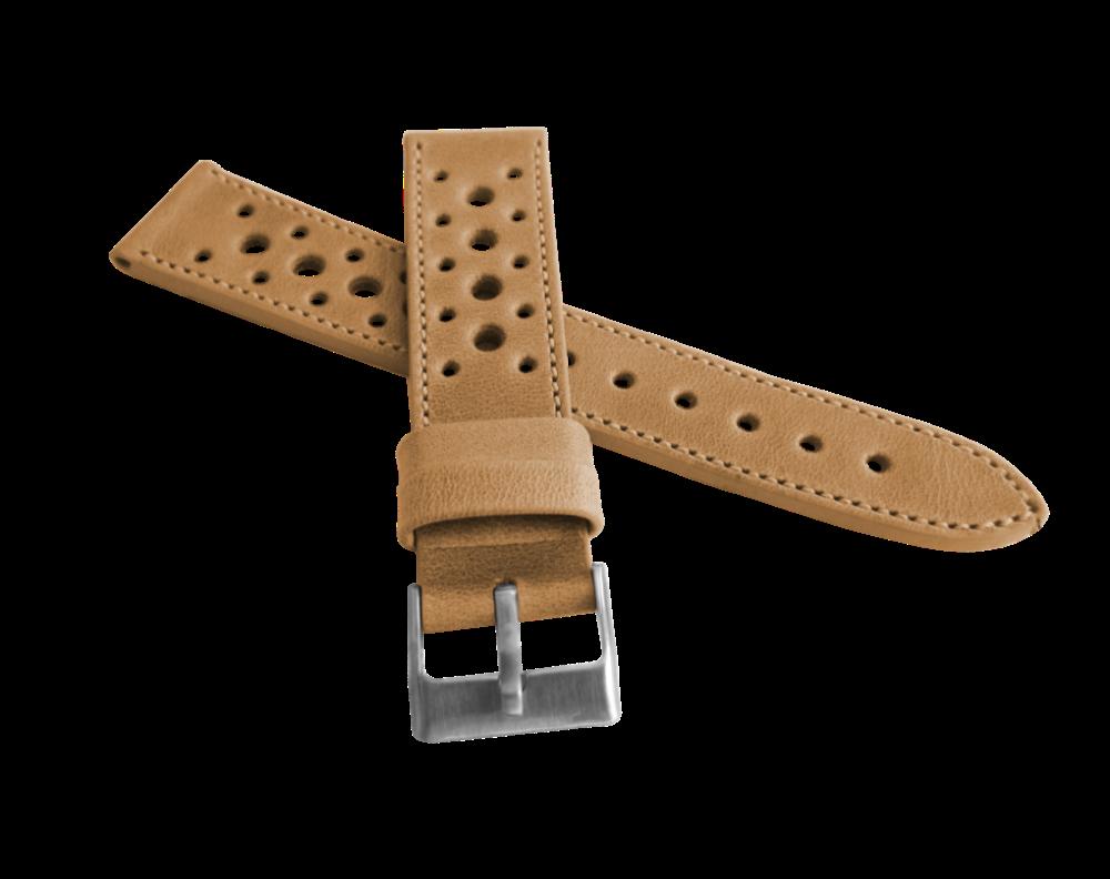 Perforovaný béžový prošitý řemínek LAVVU VINTAGE z luxusní kůže Top Grain - LSGUD22 (řemínek, pásek na hodinky - šířka 22mm)