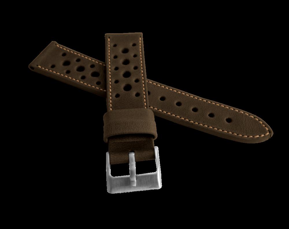 Perforovaný tmavě hnědý prošitý řemínek LAVVU VINTAGE z luxusní kůže Top Grain - LSGUC22 (řemínek, pásek na hodinky - šířka 22mm)