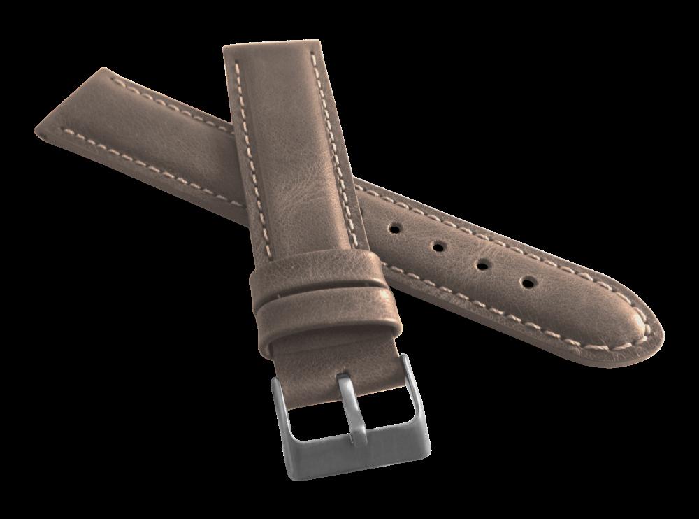Polstrovaný béžový prošitý řemínek LAVVU SPORT z luxusní kůže Top Grain - 22mm LSBUF22 (řemínek, pásek na hodinky)