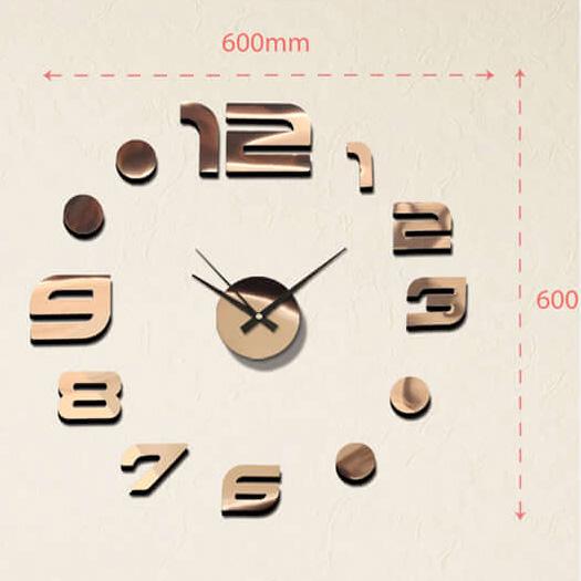 """Luxusní měděné nalepovací hodiny na zeď MPM E01.3776.10 s lesklými číslicemi (Levné nalepovací hodiny s arabskými číslicemi """"12"""")"""