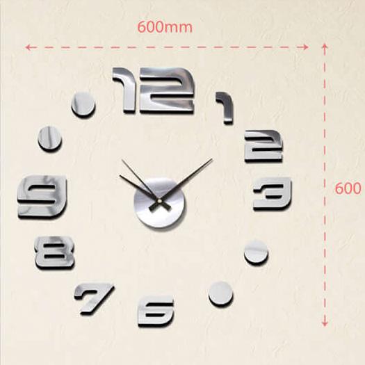 """Luxusní stříbrné lesklé nalepovací hodiny na zeď MPM E01.3776.70 s lesklými číslicemi (Levné nalepovací hodiny s arabskými číslicemi """"12"""")"""