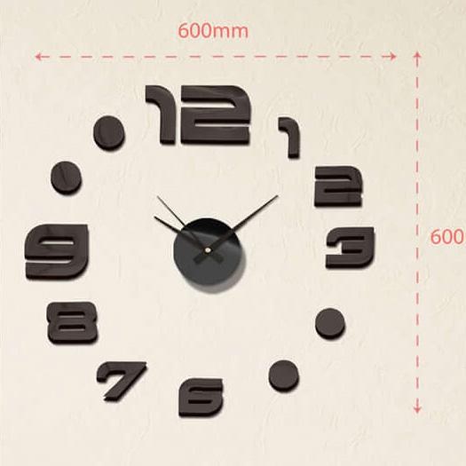 """Luxusní černé lesklé nalepovací hodiny na zeď MPM E01.3776.90 s černými lesklými číslicemi (Levné nalepovací hodiny s arabskými číslicemi """"12"""")"""
