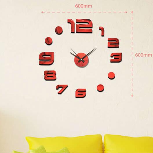 """Luxusní červené lesklé nalepovací hodiny na zeď MPM E01.3776.20 s červenými lesklými číslicemi (Levné nalepovací hodiny s arabskými číslicemi """"12"""")"""
