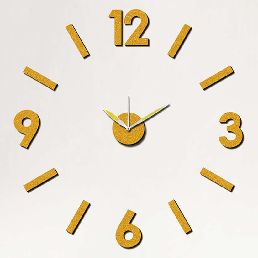 """Samolepicí žluto-zlaté hodiny na zeď - nalepovací hodiny MPM E01.3775.80 - průměr 75cm (Levné nalepovací hodiny s arabskými číslicemi """"12"""")"""