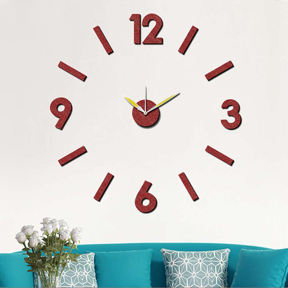 """Samolepicí červené nalepovací hodiny na zeď - nalepovací hodiny MPM E01.3775.20 - průměr 75cm (Levné nalepovací hodiny s arabskými číslicemi """"12"""")"""