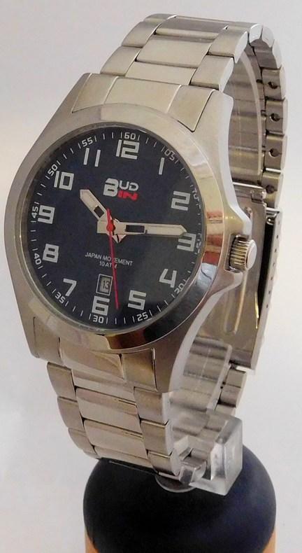 Pánské levné ocelové vodotěsné hodinky BUD-IN steel B1701.3 - 10ATM s modrým číselníkem (POŠTOVNÉ ZDARMA!!! - modrý číselník)