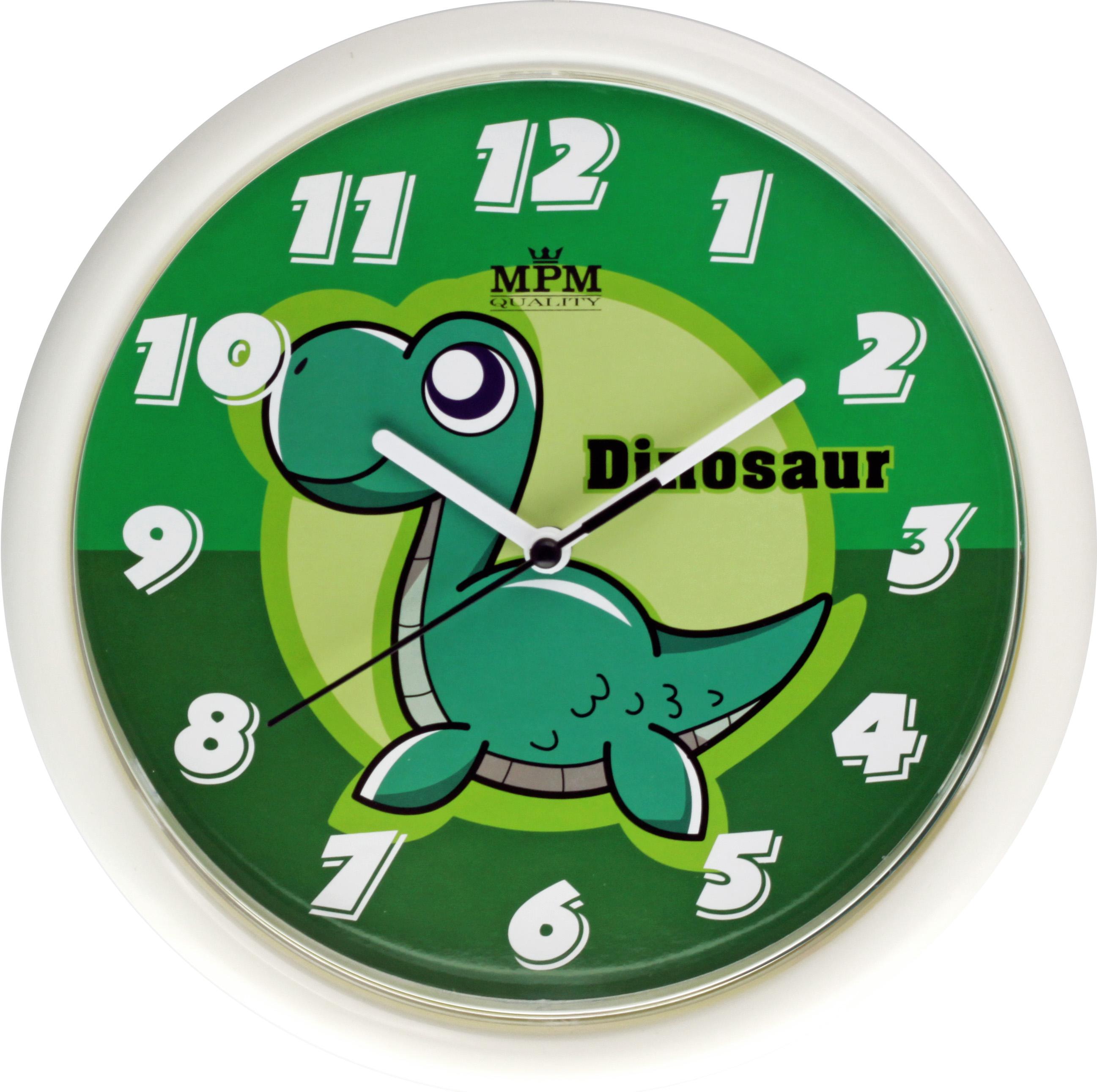 Roztomilé dětské nástěnné hodiny s ciferníkem dinosaurus MPM E01.3088.0040