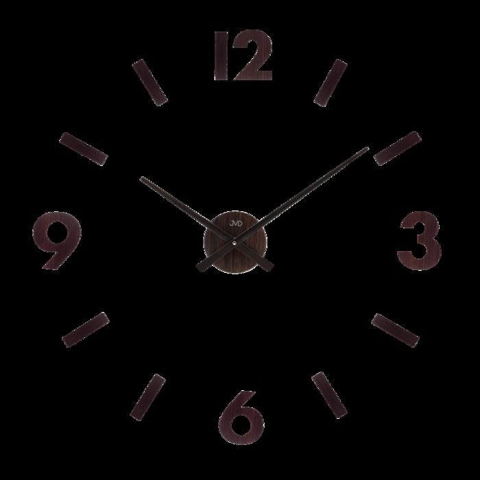 Designové nástěnné dřevěné nalepovací hodiny JVD HC31.2 - tmavé dřevo