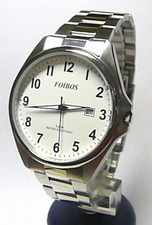 Pánské čitelné voděodolné ocelové hodinky Foibos 3883.1 - 5ATM (bílý  ciferník) 629f850155c