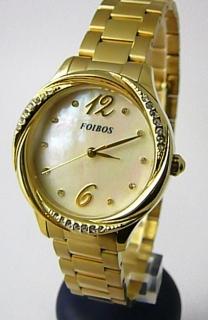 Dámské šperkové zlacené luxusní hodinky Foibos 3B722 s bílým perleťovým  čísel. hodinky Foibos 3B722 6a5ae431b34