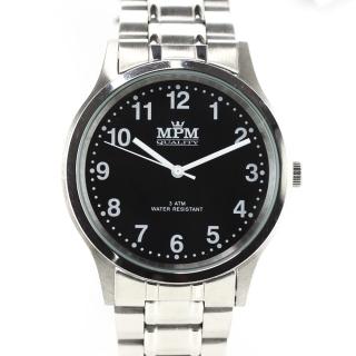 a41e8adc44d Pánské hodinky s ocelovým pouzdrem a černým číselníkem MPM W01M.10019.