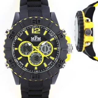 Pánské hodinky sportovního vzhledu se žlutým pouzdrem MPM W01M.10607.E 9b2e476eec