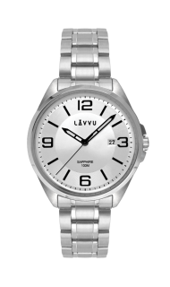 Vodotěsné pánské hodinky se safírovým sklem LAVVU HERNING Silver LWM0090 6b5e47f709a