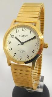 Přehledné čitelné zlaté dámské hodinky Foibos 1931.2 s pružným natahovacím  páskem 7dc7ff5c274